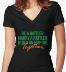 Marry a Rattler Collection by Graphic Snob® Women's Fitted V-Neck T-Shirt
