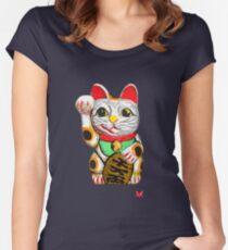 Maneki-neko, Lucky Cat Women's Fitted Scoop T-Shirt