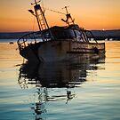 Sunset Wreck Reflected  by Kyra C. Kalageorgi