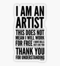 I Am an Artist Collection by Graphic Snob® Transparent Sticker
