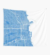 Chicago Map - Light Blue Wall Tapestry