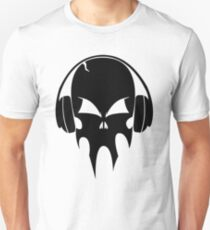 Skull with headphones - version 1 - black Unisex T-Shirt