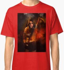 Grim reaper female DEATH carrying scythe wrapped in hell's flames  Classic T-Shirt
