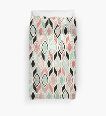 Patchwork Pattern in Coral, Mint, Black & White Duvet Cover