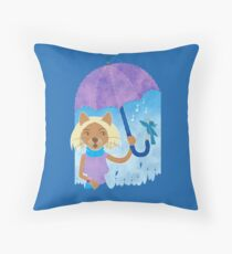 Cool cats and noisy neighbours on a rainy day Throw Pillow