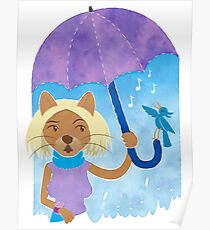 Cool cats and noisy neighbours on a rainy day Poster