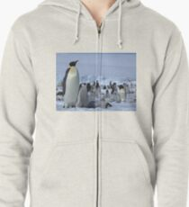 Emperor Penguin and Chicks - Snow Hill Island  Zipped Hoodie
