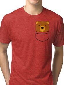 Napping pocket bear Tri-blend T-Shirt