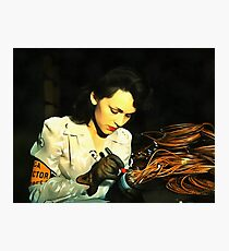 Digital Art - Vintage Style WWii Woman Photographic Print