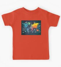 Oceans Life World Map colored Kids Clothes