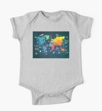 Oceans Life World Map colored One Piece - Short Sleeve