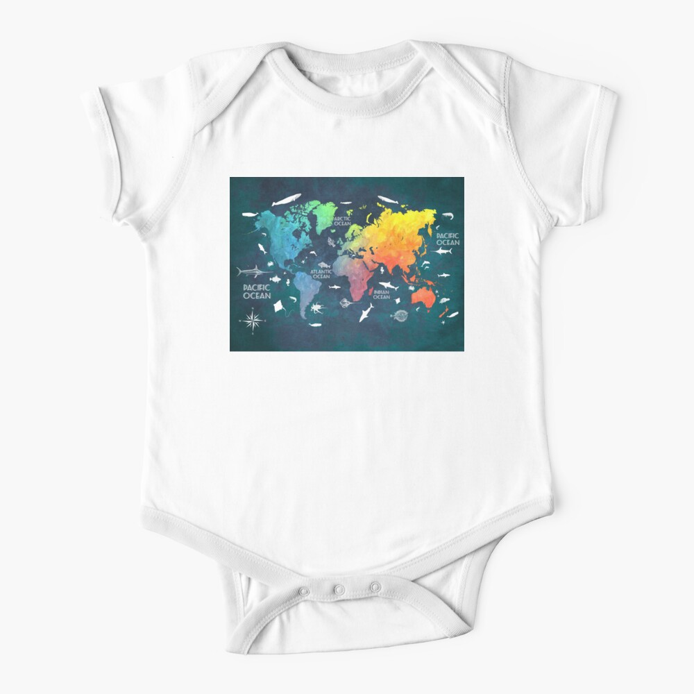 Oceans Life World Map colored Baby One-Piece