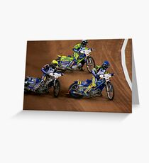 Speedway Cardiff with Gollob, Hannock and Pedersen Greeting Card