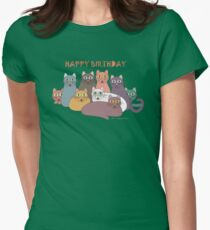 HAPPY BIRTHDAY by NINE CATS  Womens Fitted T-Shirt