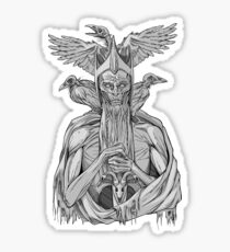 grayscale image of dead king with birds Sticker