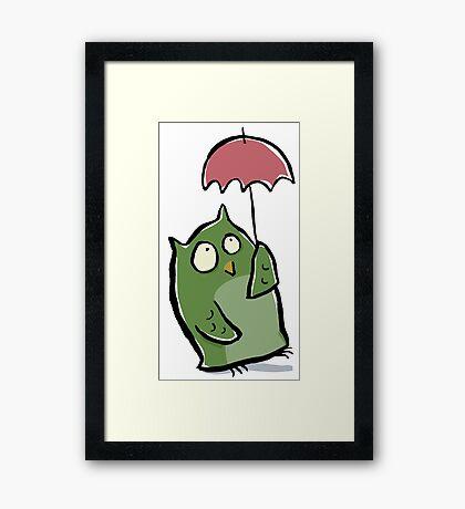 owl in the rain Framed Print