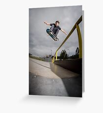 Skateboarder doing a ollie Greeting Card