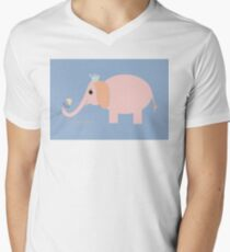 ELEPHANT WITH BLOOMS & BLING Mens V-Neck T-Shirt