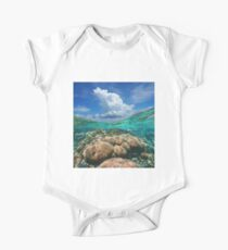 Over under sky cloud split with coral reef underwater One Piece - Short Sleeve