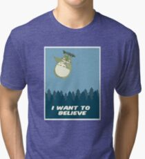 """I Want to Believe"" Totoro  Tri-blend T-Shirt"