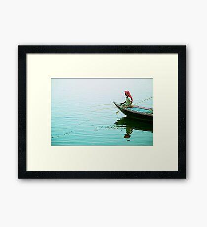 Fishing on the Ganges Framed Print