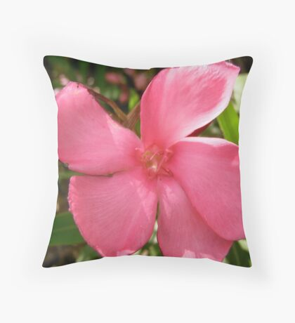 Pink Oleander Throw Pillow