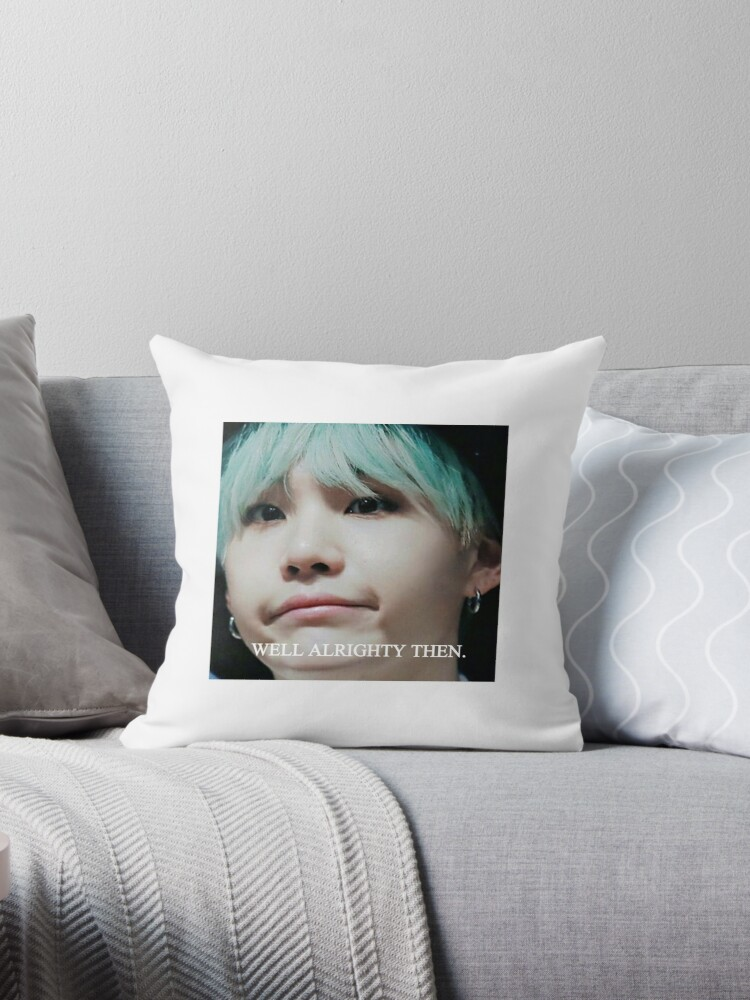 Quot Bts Suga Meme Sticker Quot Throw Pillow By Bangtanchi Redbubble