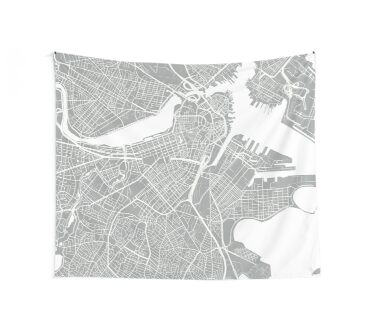 Boston Map - Light Grey Wall Tapestry