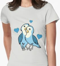 Valentine's Day Blue Love Birds with Hearts T-Shirt