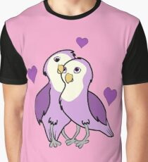 Valentine's Day Purple Love Birds with Hearts Graphic T-Shirt