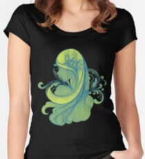 Blue and Yellow Glamor Girl Drawing Women's Fitted Scoop T-Shirt