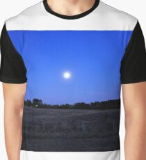 Moon over Winter Field Graphic T-Shirt