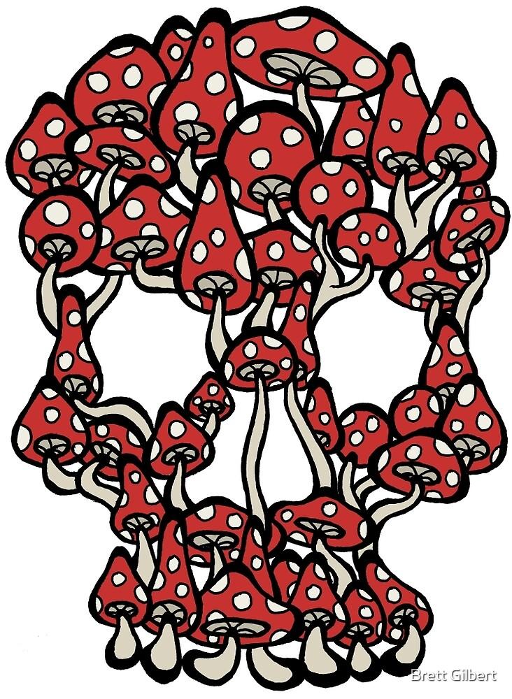 Skull made of Mushrooms by Brett Gilbert