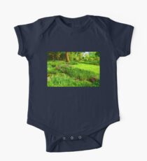 Impressions of Gardens - Lush Green and Blooming Peonies One Piece - Short Sleeve