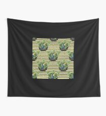 Toucan and banana leaves on the striped background Wall Tapestry