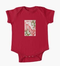 Merry Christmas With Stylized Holly Greeting Card One Piece - Short Sleeve