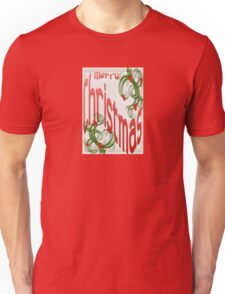 Merry Christmas With Stylized Holly Greeting Card T-Shirt
