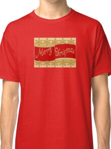 Red Merry Christmas Banner On Gold With Snowflakes Classic T-Shirt