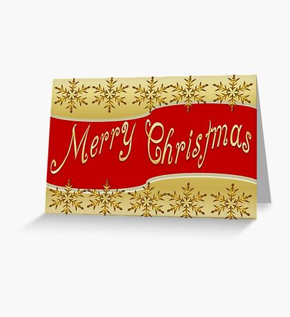 Red Merry Christmas Banner On Gold With Snowflakes Greeting Card