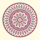 Hand Drawn Cream And Pink Pretty Mandala  by Zedart