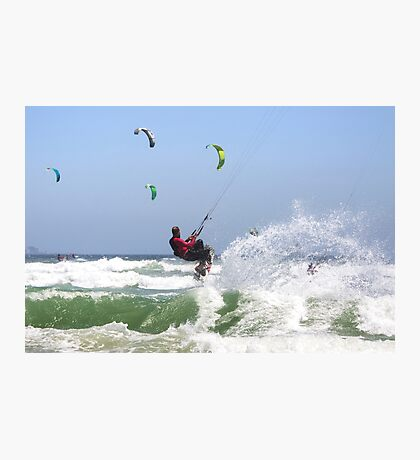 Fun with Wind & Water - Kitesurfing - Cape Town, South Africa Photographic Print