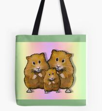 Hamster Family of Three, Colorful Background: Art Tote Bag