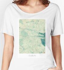 Dublin Map Blue Vintage Women's Relaxed Fit T-Shirt