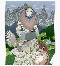 Lady with an owl and a dog Poster