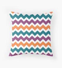 Orange Plum Blue Chevron Zigzag pattern Throw Pillow