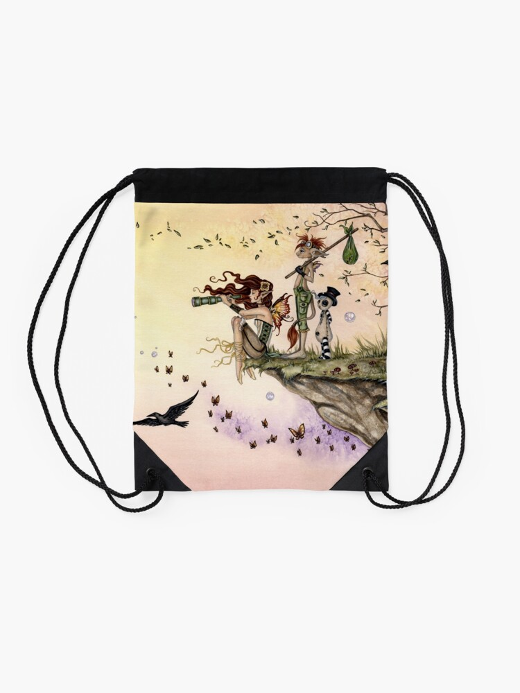 Alternate view of Where The Wind Takes You Drawstring Bag
