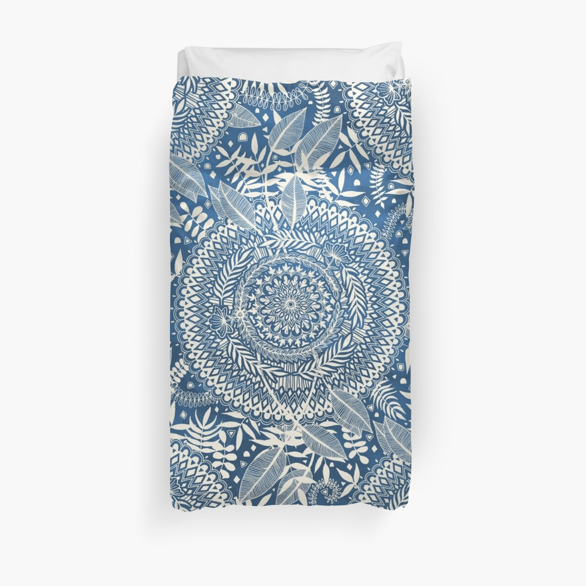 Quot Diamond And Doodle Mandala On Blue Quot Duvet Covers By