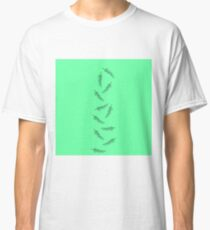 Simple Neon Mint Green with Minimalistic Feathers Classic T-Shirt