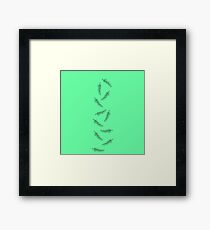Simple Neon Mint Green with Minimalistic Feathers Framed Print