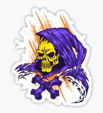 Purple Hooded Evil Skull Dude Sticker